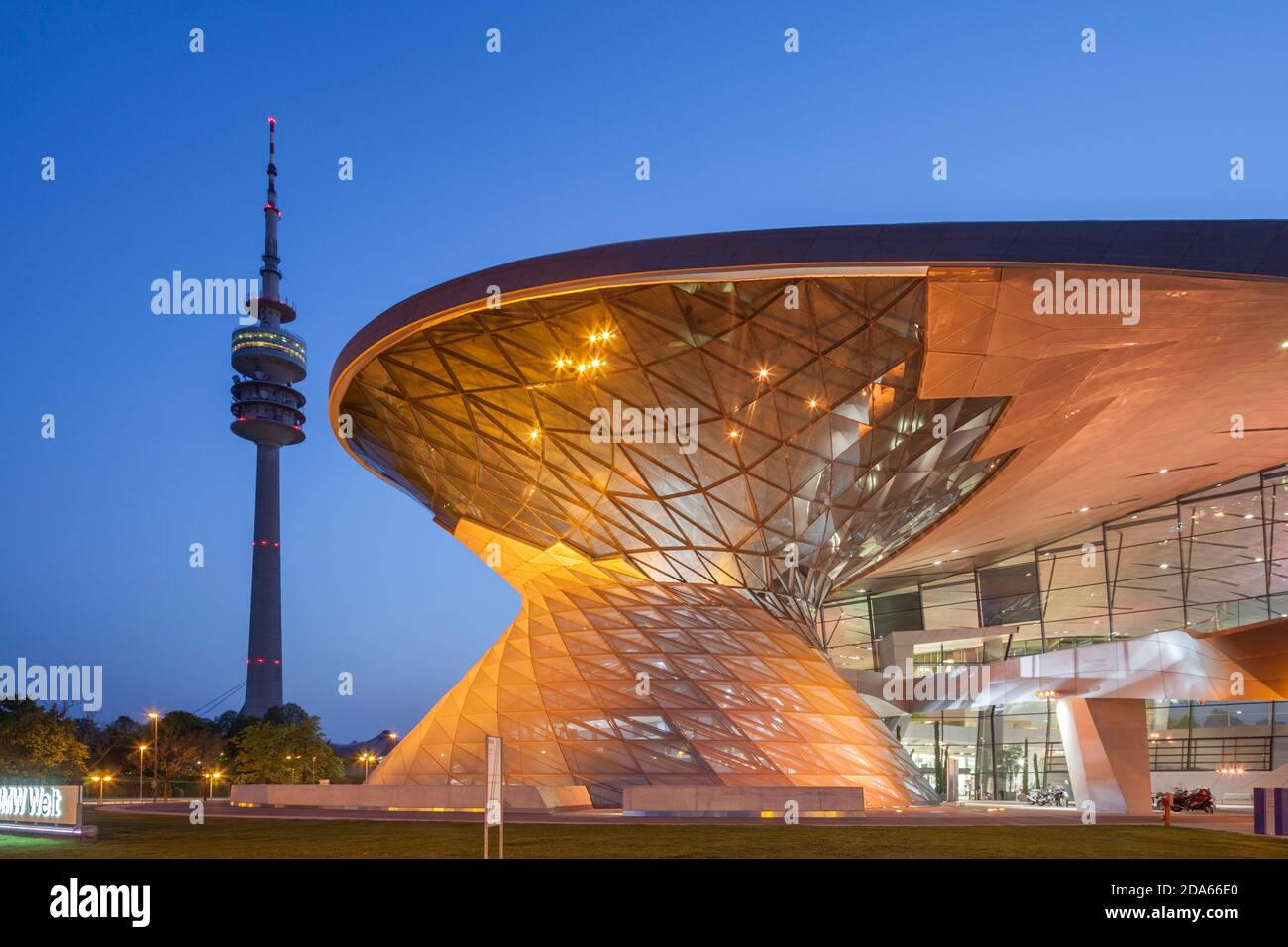 geography / travel, Germany, Bavaria, Munich, BMW world with Olympic Tower, Munich, Additional-Rights-Clearance-Info-Not-Available Stock Photo