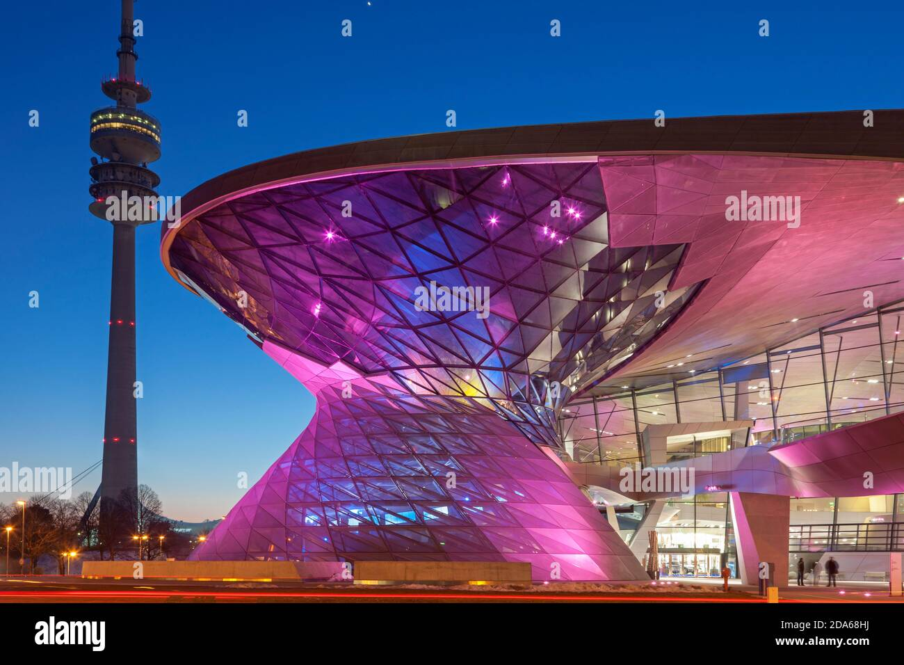 geography / travel, Germany, Bavaria, Munich, Olympic Tower with BMW world, Munich, Additional-Rights-Clearance-Info-Not-Available Stock Photo