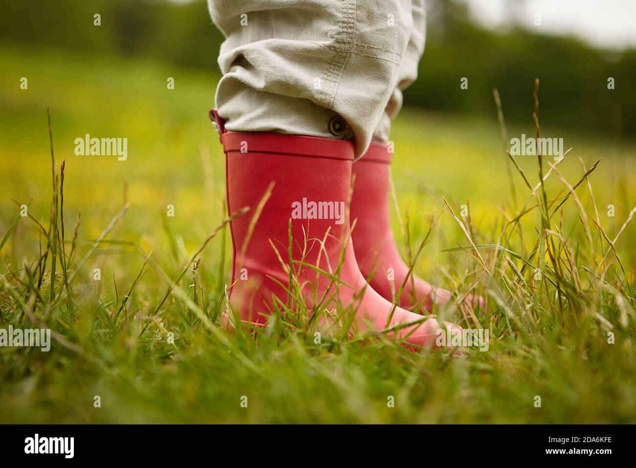 Red Welly boots Stock Photo