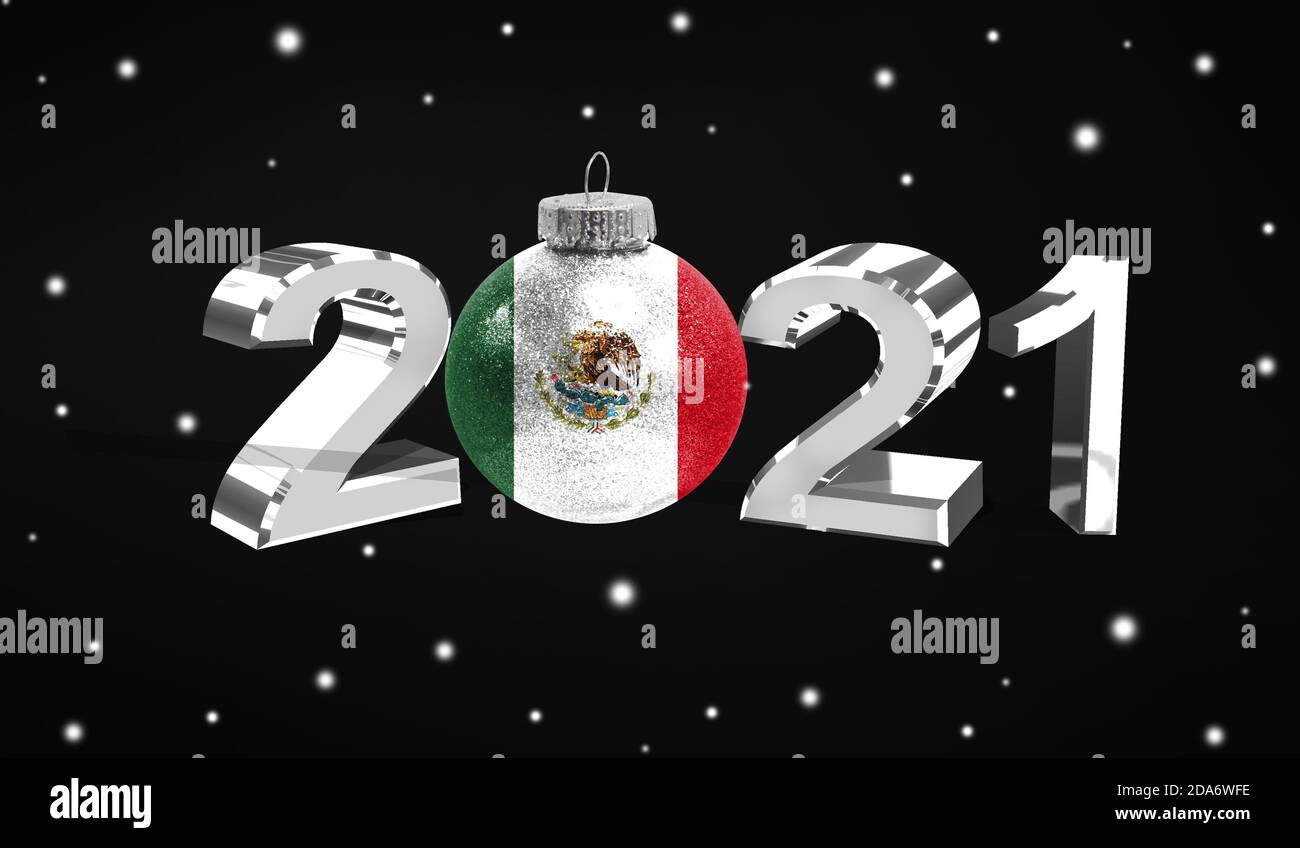 Mexico Christmas 2021 Happy New Year 2021 Flag Of Mexico On A Christmas Toy Decorations Isolated On Dark Background Creative Christmas Concept Stock Photo Alamy