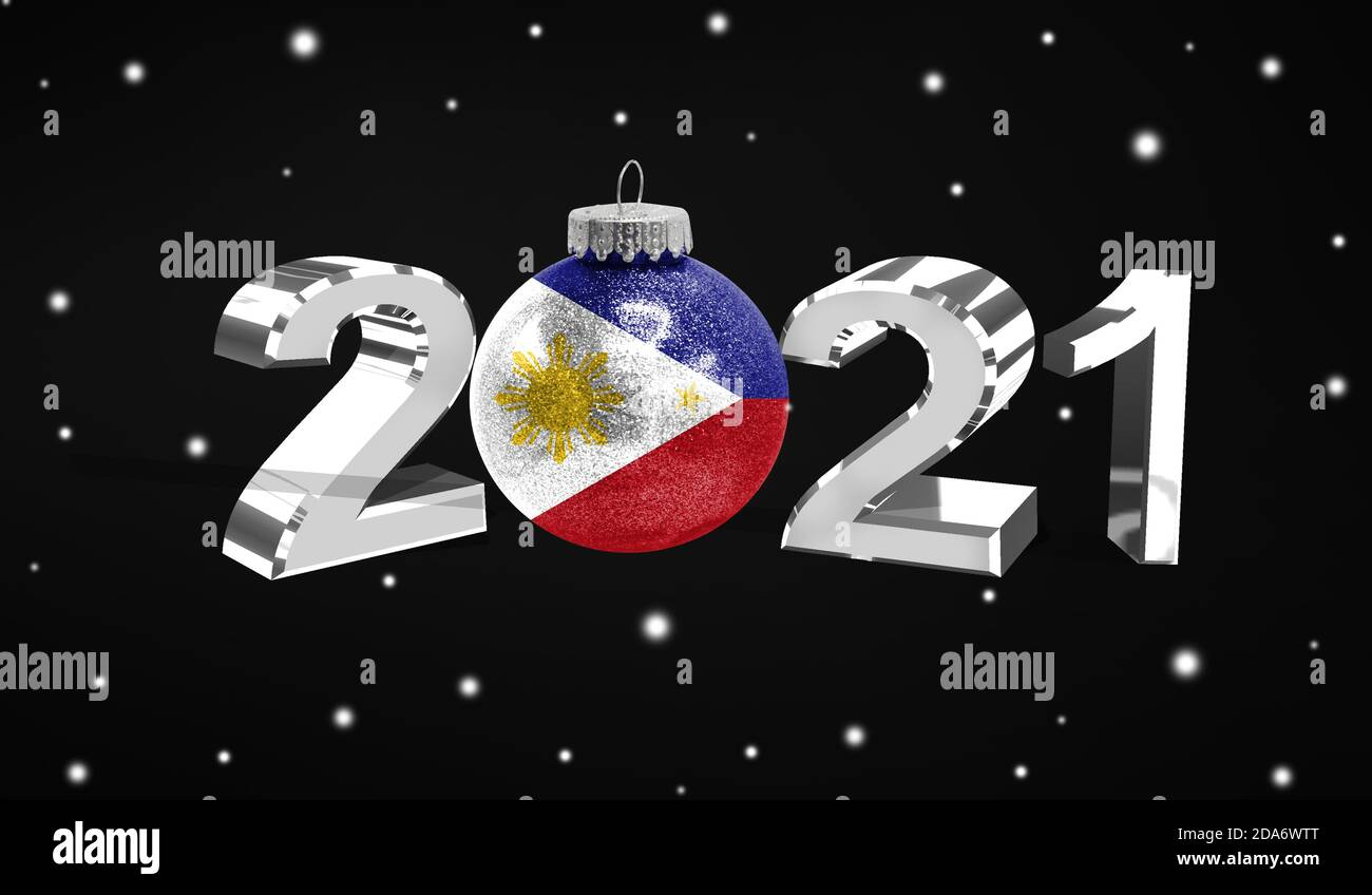 2021 Christmas In The Philippines Happy New Year 2021 Flag Of Philippines On A Christmas Toy Decorations Isolated On Dark Background Creative Christmas Concept Stock Photo Alamy