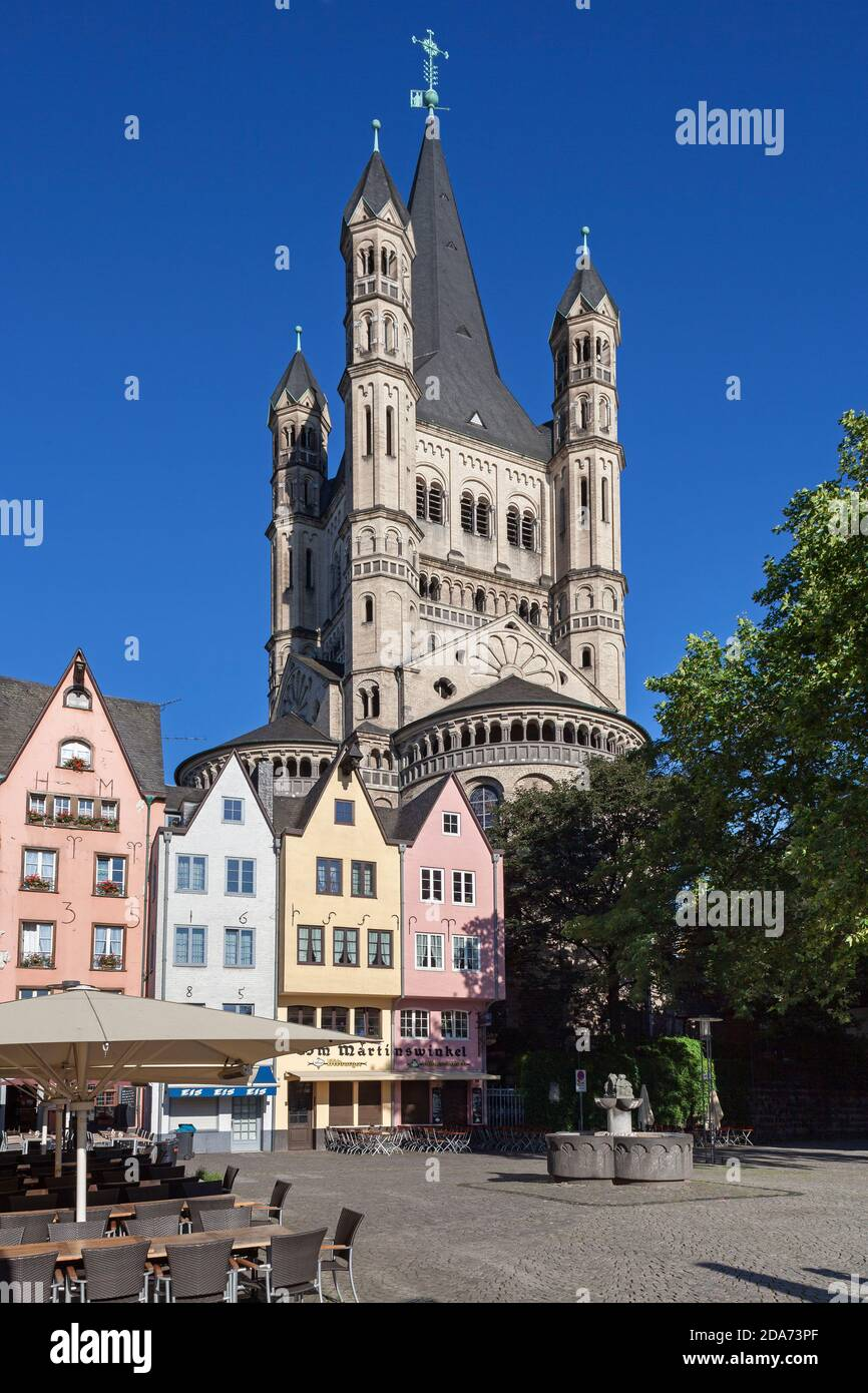 geography / travel, Germany, North Rhine-Westphalia, Cologne, capital St. Martin on the fish market, C, Additional-Rights-Clearance-Info-Not-Available Stock Photo