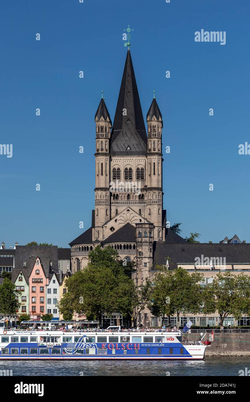 geography / travel, Germany, North Rhine-Westphalia, Cologne, church Great St. Martin at Rhine, Additional-Rights-Clearance-Info-Not-Available Stock Photo