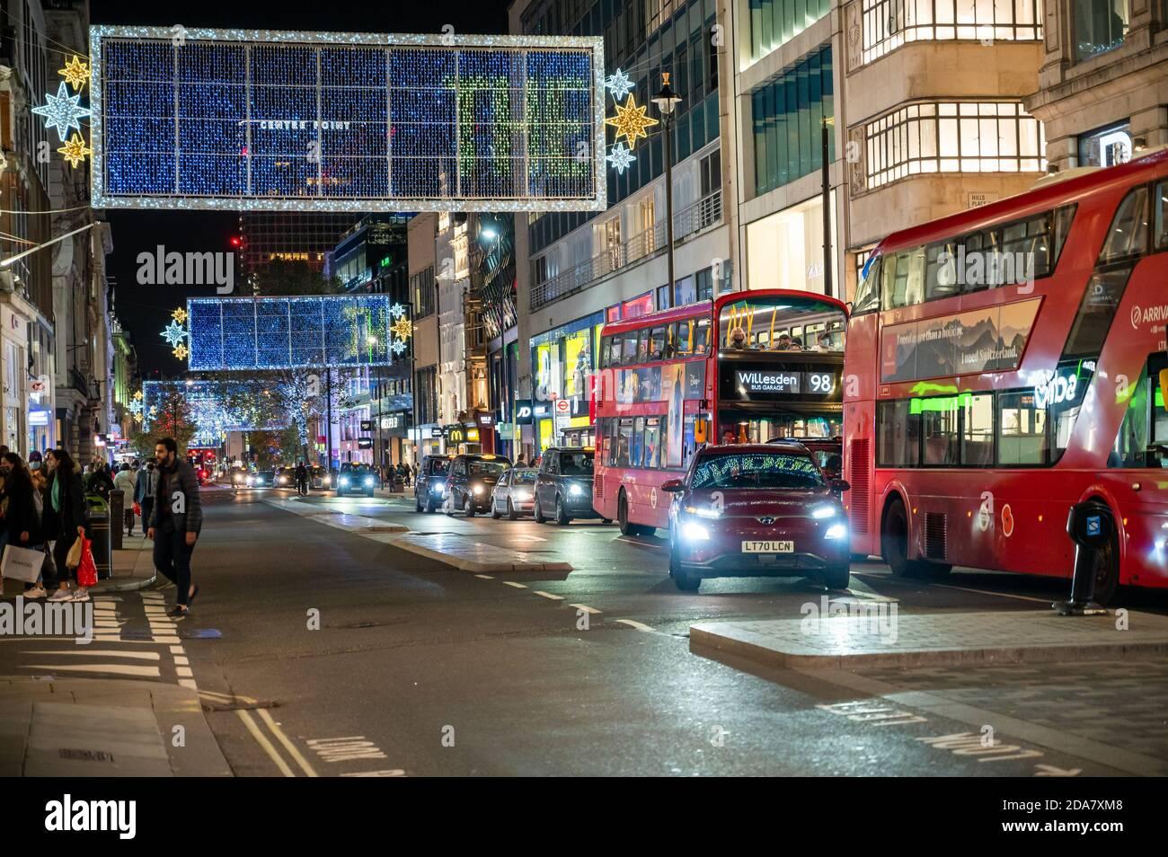 Christmas Traffic 2020 LONDON   NOVEMBER 3, 2020: Traffic beneath the Oxford Street