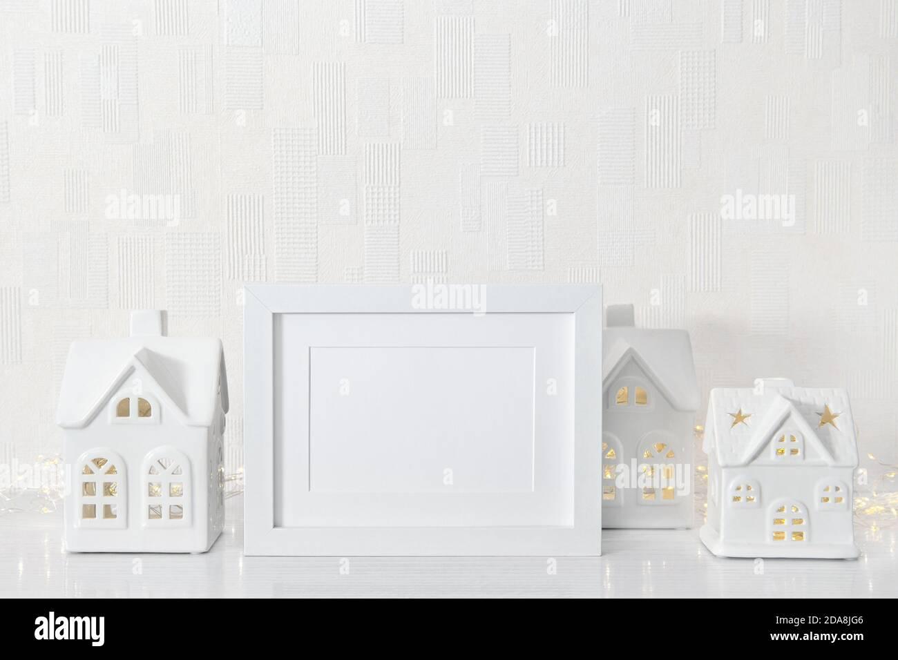 White frame mockup with Christmas decoration Stock Photo