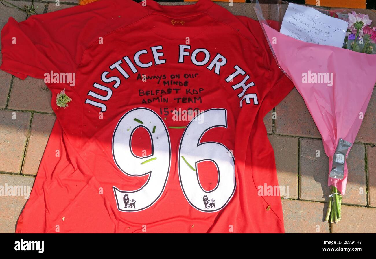 Liverpool FC,Justice For The 96,Hillsbough,disaster,Anfield,Liverpool,Merseyside,England,UK Stock Photo