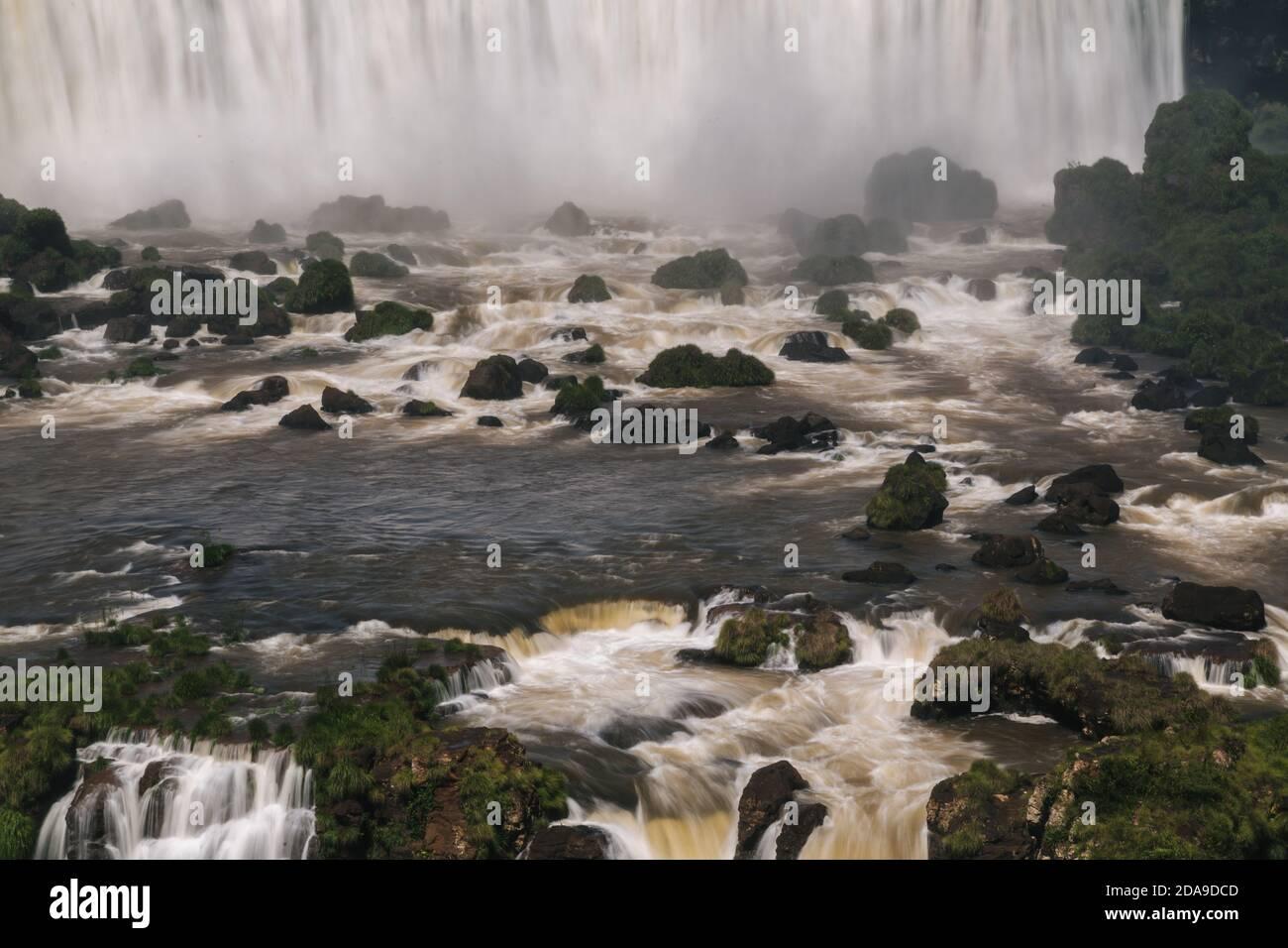 "Foz do Iguaçu, Brazil. 16th February, 2017. View of ""Salto Rivadavia"" (top) waterfalls at Iguazu National Park in Argentina, viewed from the Brazilian side, Iguaçu National Park, Parana State, Brazil. Stock Photo"