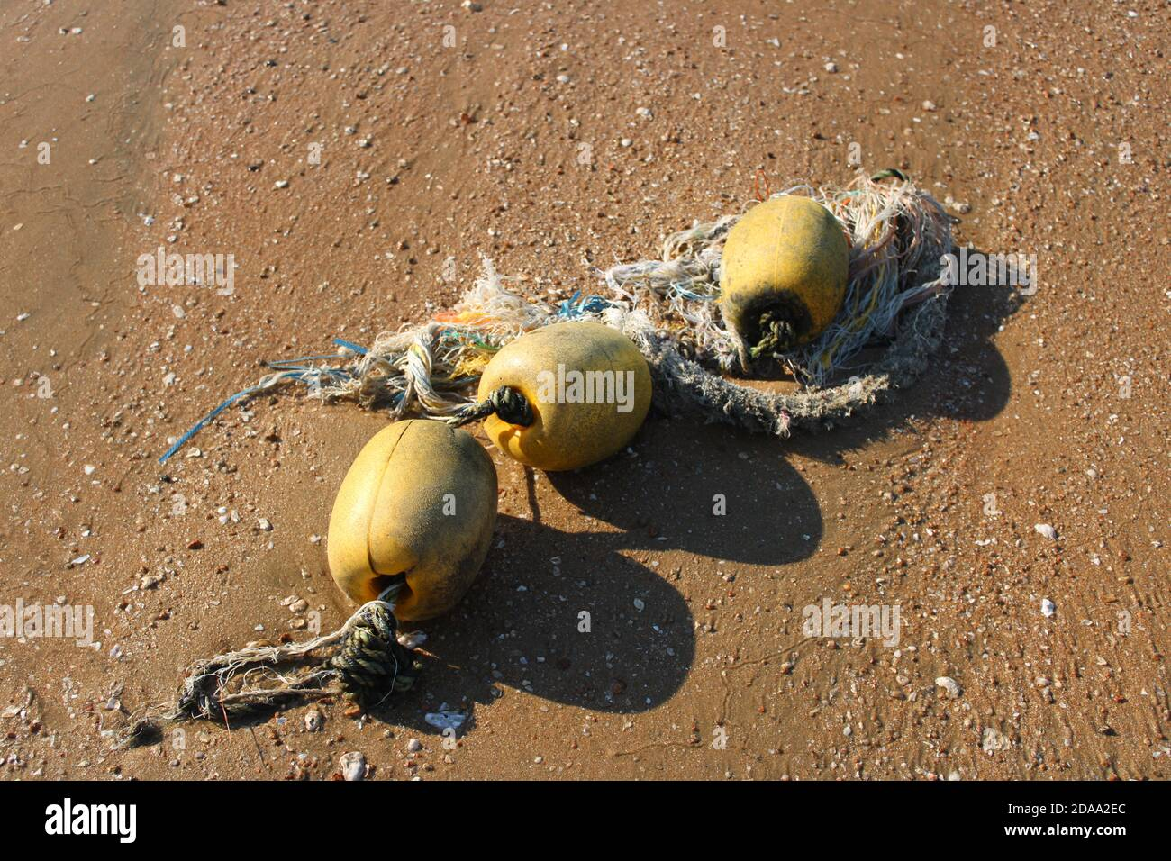 Sea worn yellow floating markers on beach tied together with frayed ropes Stock Photo