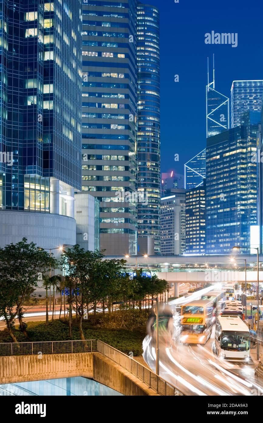 Skyline of office buildings at Connaught Road, Chung Wan (central district), Hong Kong Island, Hong Kong, China, Asia Stock Photo