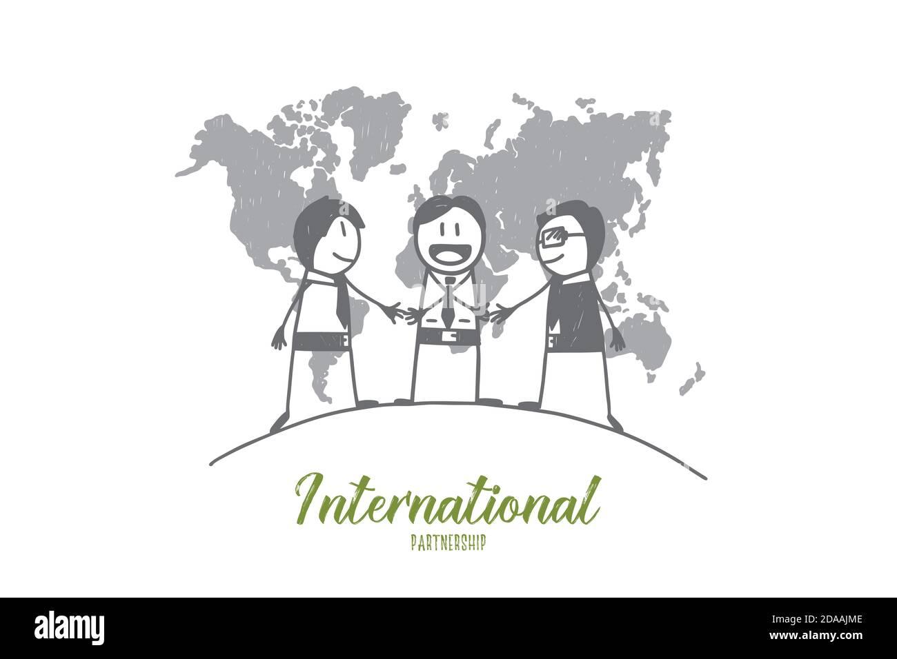 Hand drawn international pertners' greeting Stock Vector
