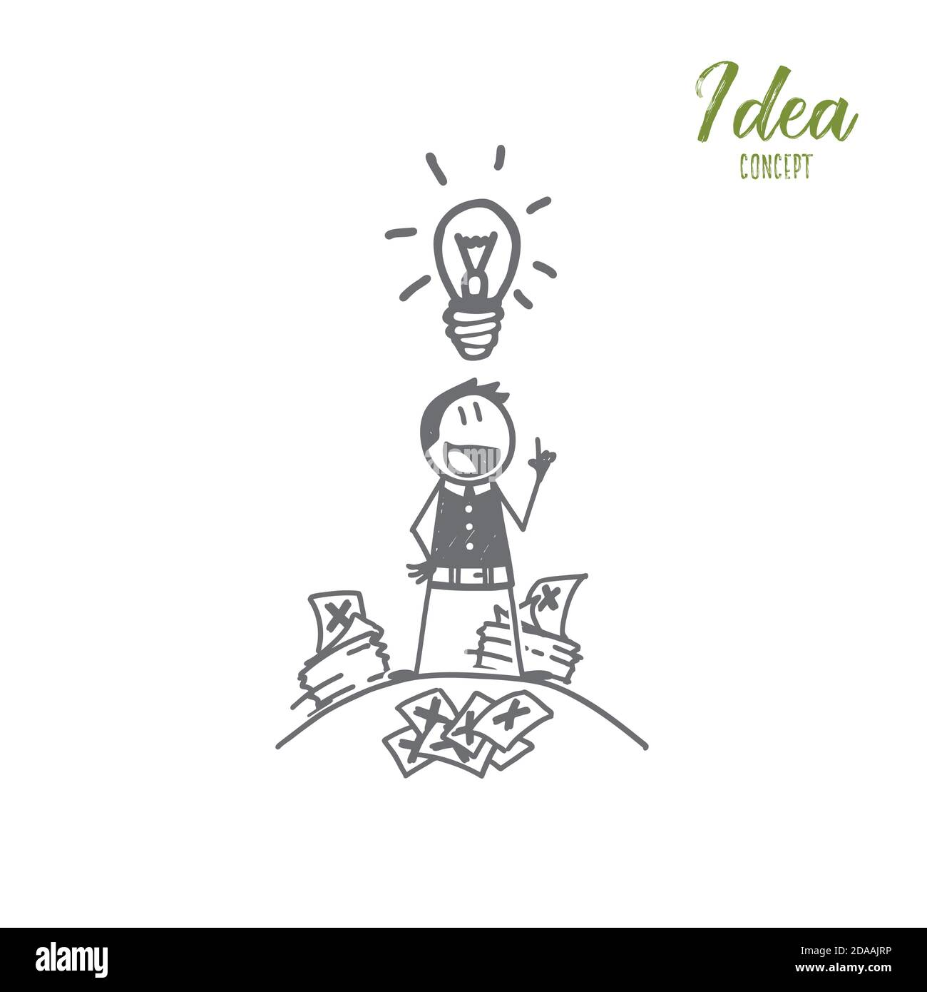Hand drawn man getting great idea in mind Stock Vector