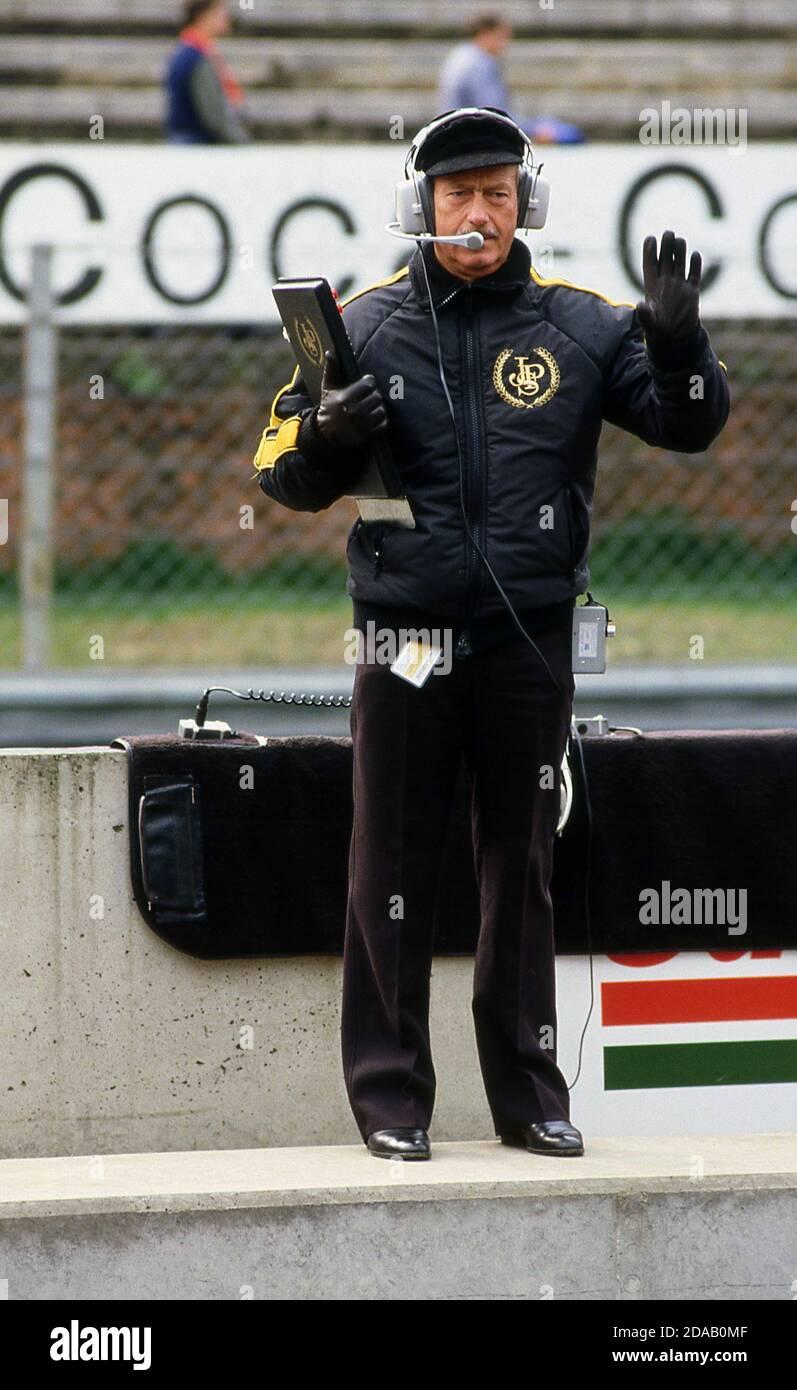Colin Chapman at the Belgium Grand Prix at Zolder 1982 Stock Photo