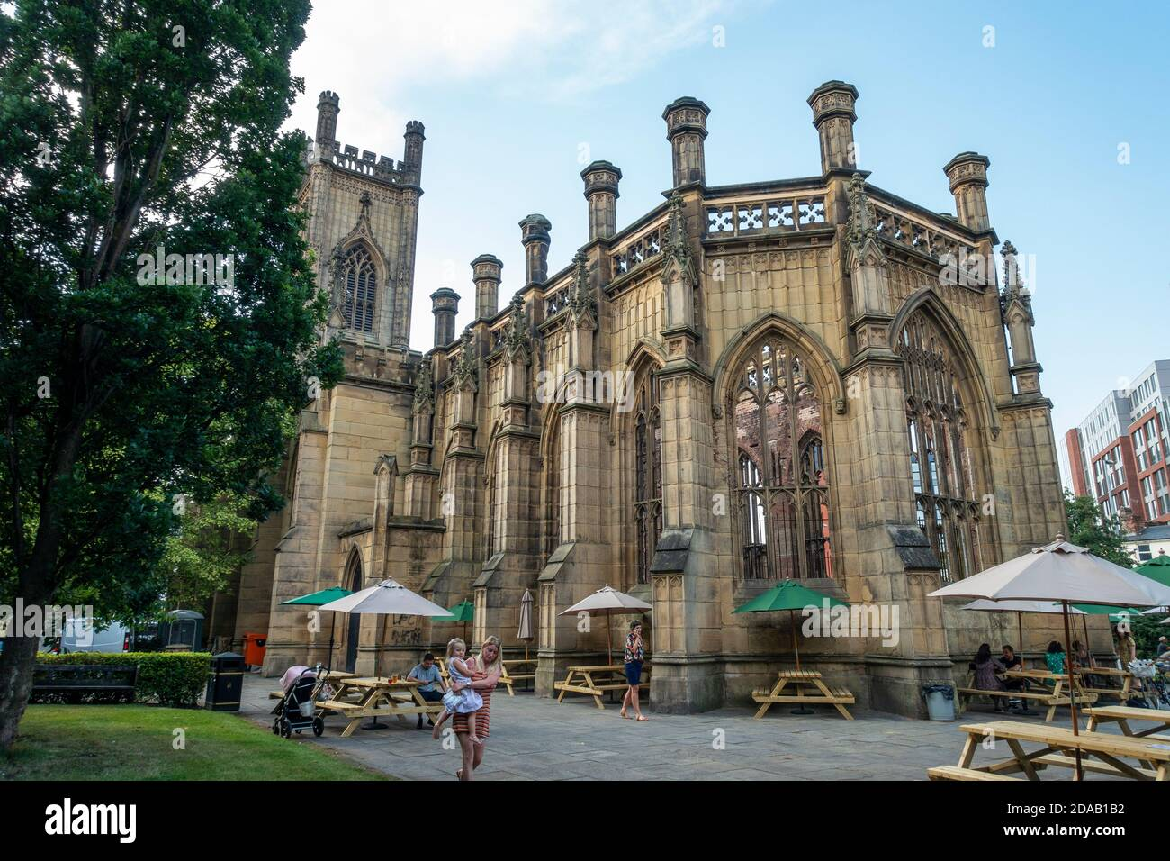 Temporary outdoor drinking venue in grounds of St Luke's Church, known locally as the bombed-out church, in Liverpool, England, UK Stock Photo