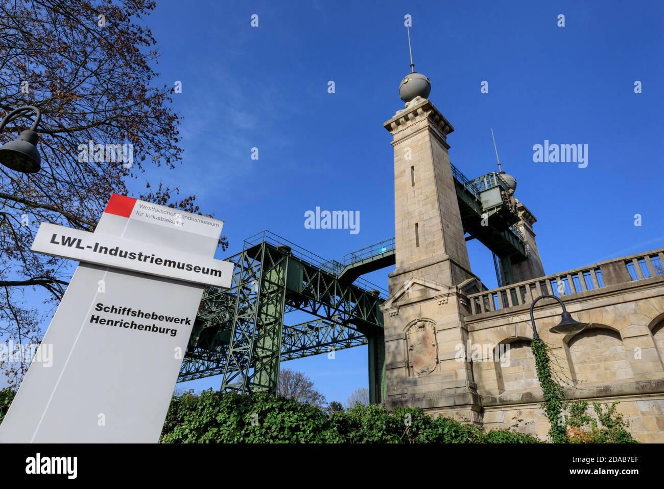 Henrichenburg boat lift, Industrial Heritage site by Dortmund Ems Canal, North Rhine-Westphalia, Germany Stock Photo