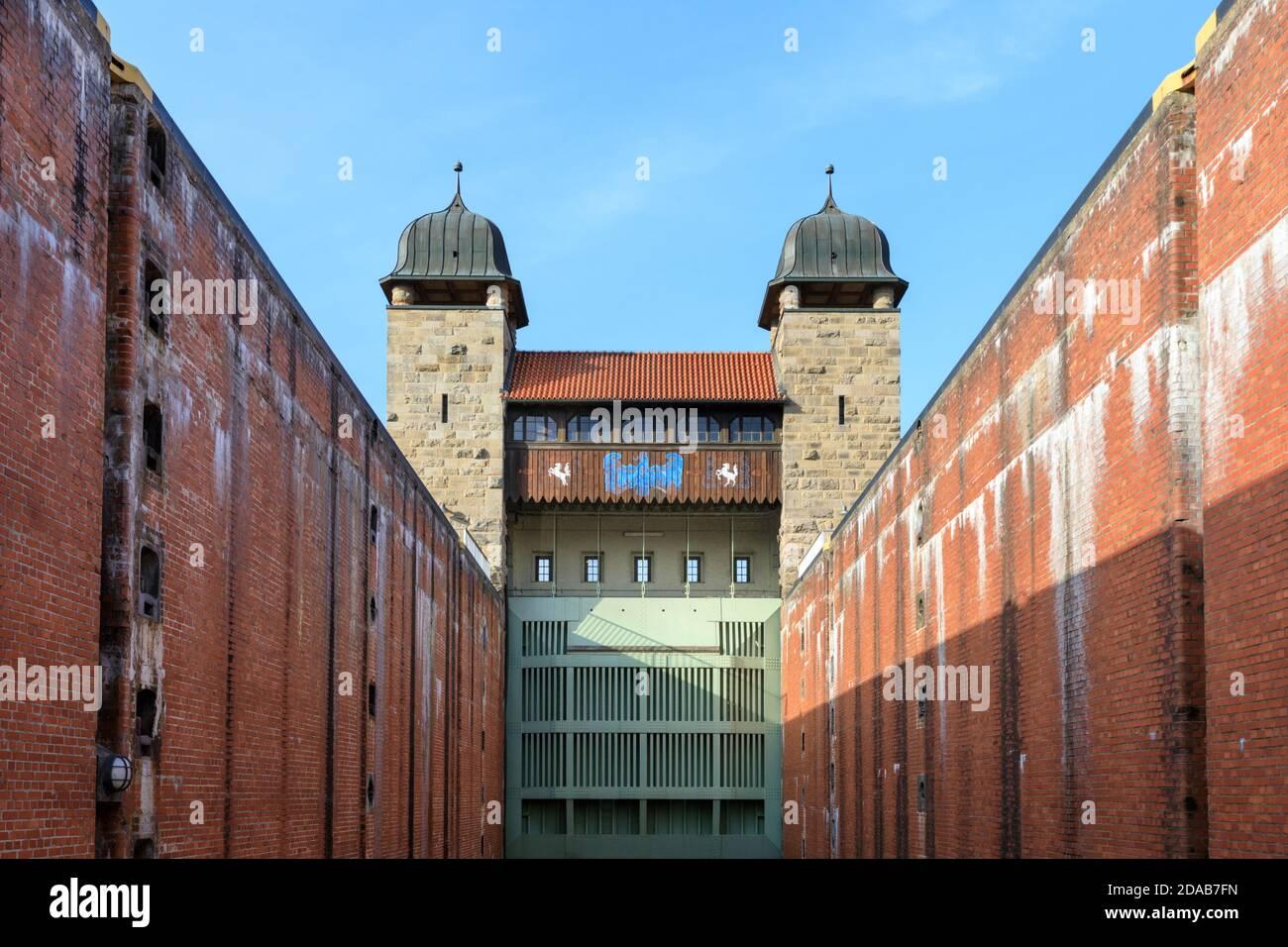 Old shaft lock, part pf Henrichenburg boat lift, Industrial Heritage site by Dortmund Ems Canal, North Rhine-Westphalia, Germany Stock Photo