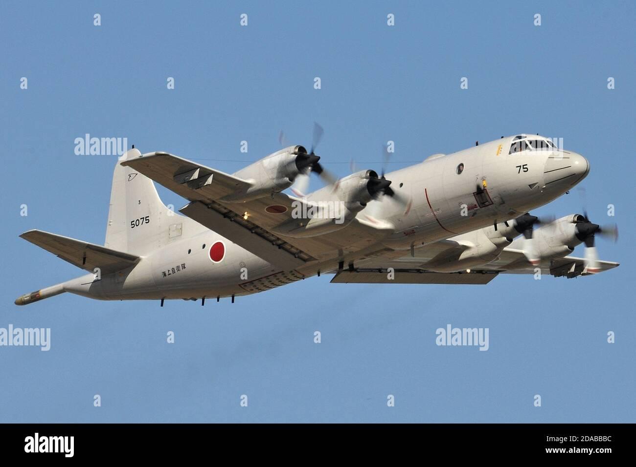 LOCKHEED P-3C ORION MARITIME PATROL AIRCRAFT OF THE JAPANESE NAVY (JMSDF). Stock Photo