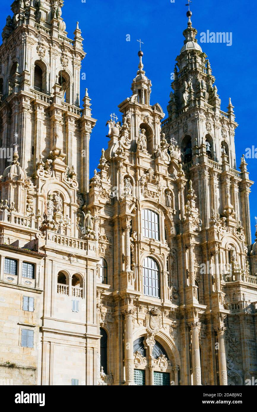 Cathedral of Santiago de Compostela. The Western façade of the cathedral as seen from the Praza do Obradoiro. French Way, Way of St. James. Santiago d Stock Photo