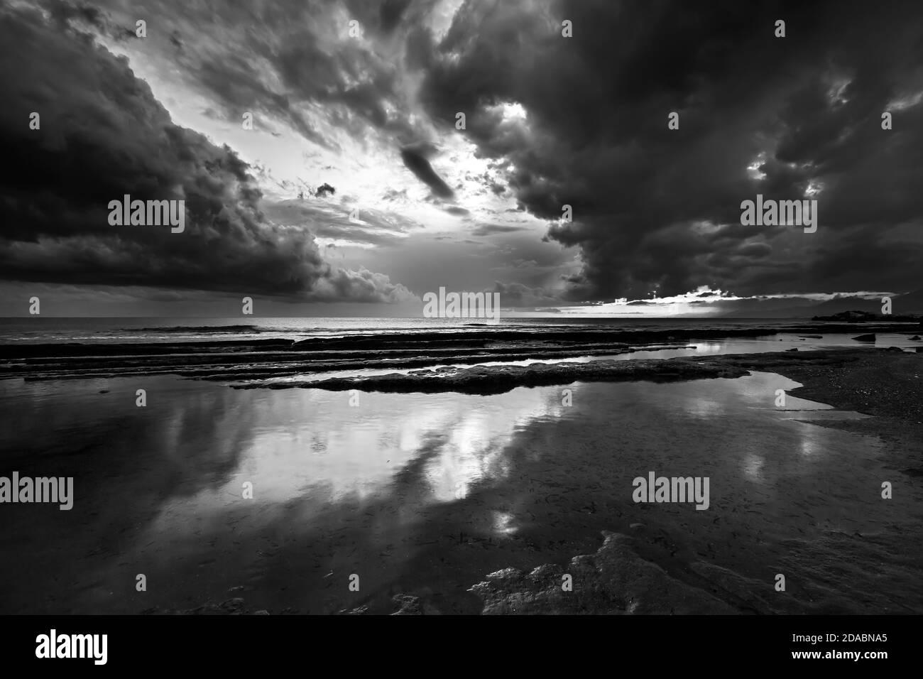 B/&W Seasonal A Lake During The Summer Season In Black And White Lake Summer