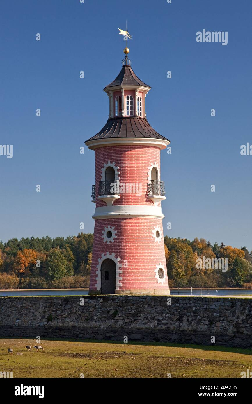 geography / travel, Germany, Saxony, Dresden, lighthouse in the castle garden Moritzburg, near Souther, Additional-Rights-Clearance-Info-Not-Available Stock Photo