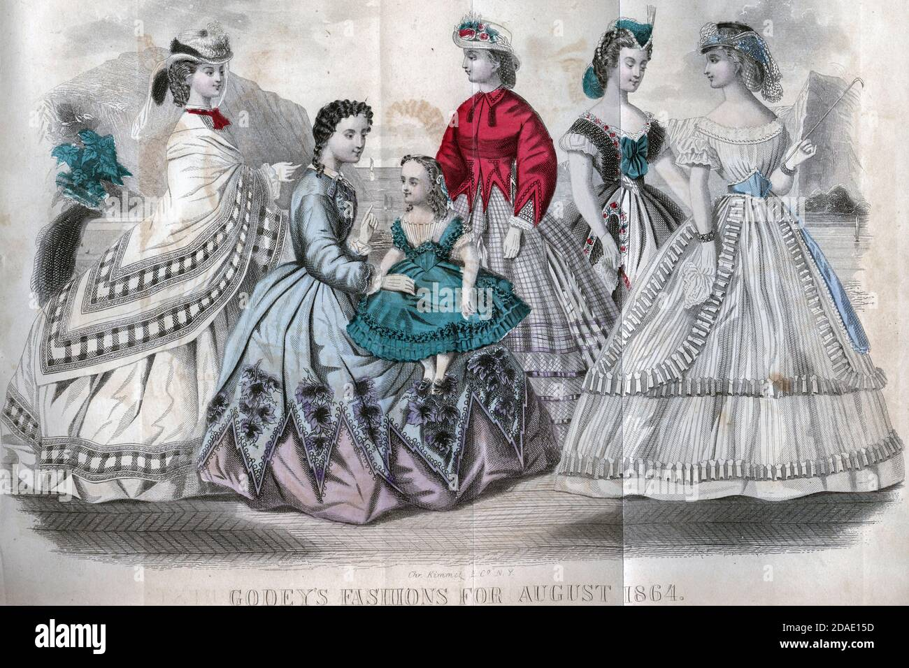 Godey's Fashion for August 1864 from Godey's Lady's Book and Magazine, August, 1864, Volume LXIX, (Volume 69), Philadelphia, Louis A. Godey, Sarah Josepha Hale, Stock Photo