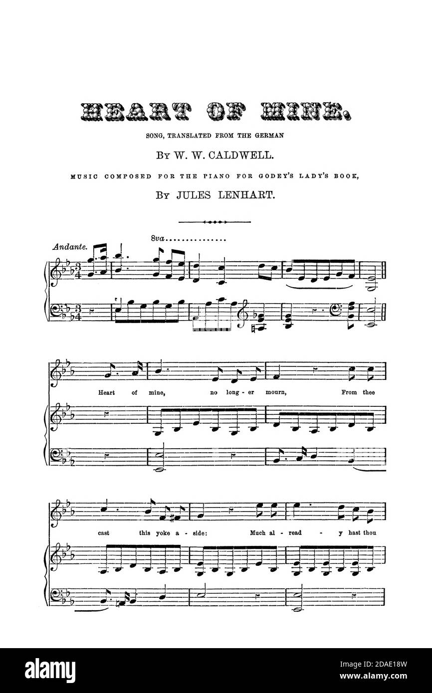Heart of Mine - Sheet Music for the piano from Godey's Lady's Book and Magazine, August, 1864, Volume LXIX, (Volume 69), Philadelphia, Louis A. Godey, Sarah Josepha Hale, Stock Photo