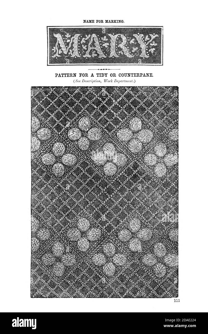 Embroidery name and pattern from Godey's Lady's Book and Magazine, August, 1864, Volume LXIX, (Volume 69), Philadelphia, Louis A. Godey, Sarah Josepha Hale, Stock Photo