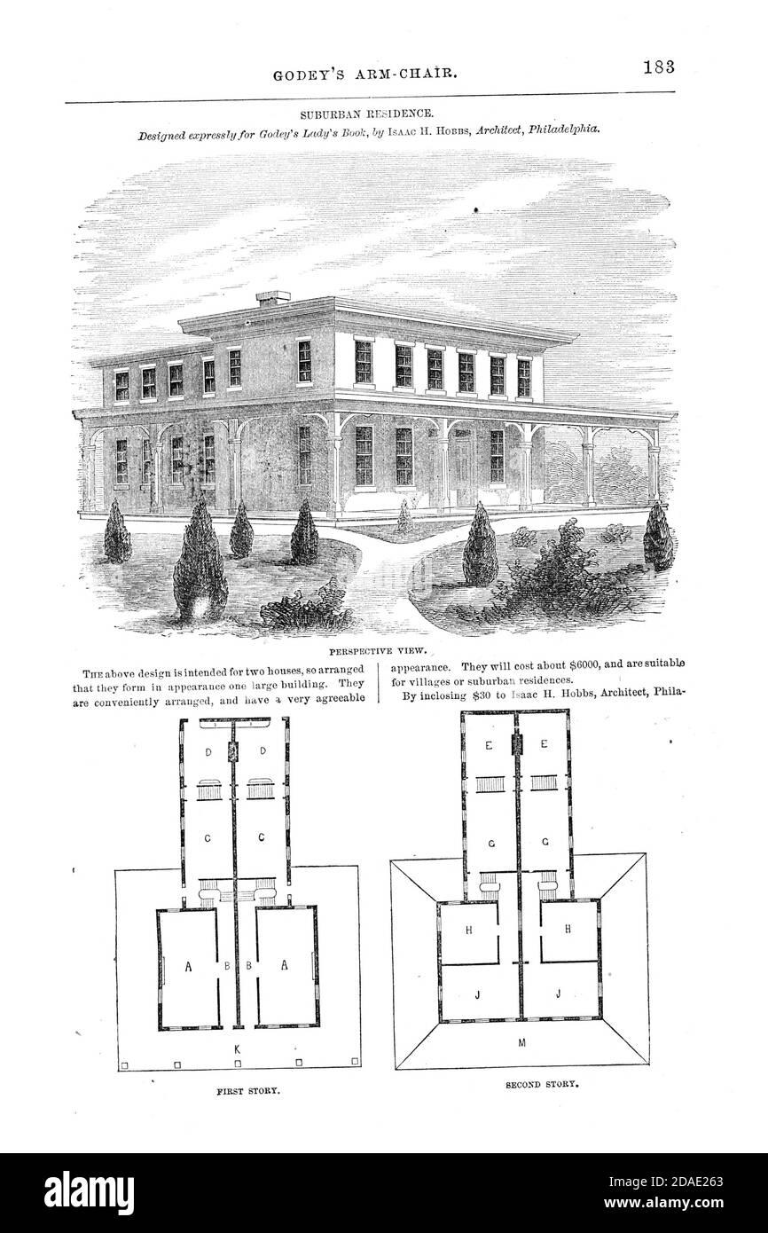 Suburban Residence, Floor Plan layout from Godey's Lady's Book and Magazine, August, 1864, Volume LXIX, (Volume 69), Philadelphia, Louis A. Godey, Sarah Josepha Hale, Stock Photo