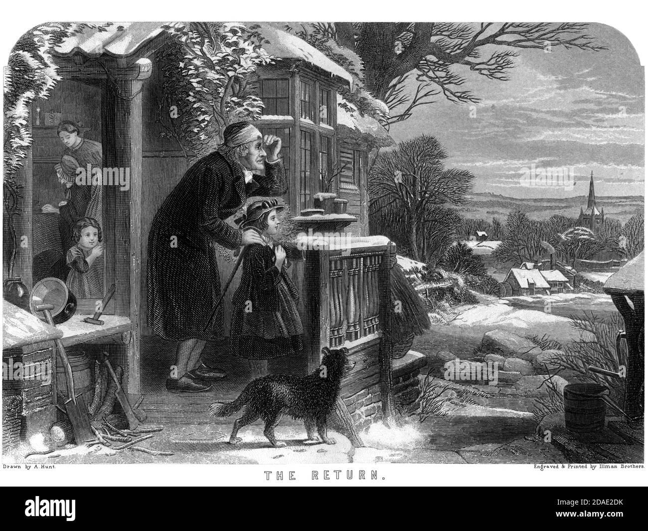 The Return Artwork from Godey's Lady's Book and Magazine, December 1864, Volume LXIX, (Volume 69), Philadelphia, Louis A. Godey, Sarah Josepha Hale, Stock Photo