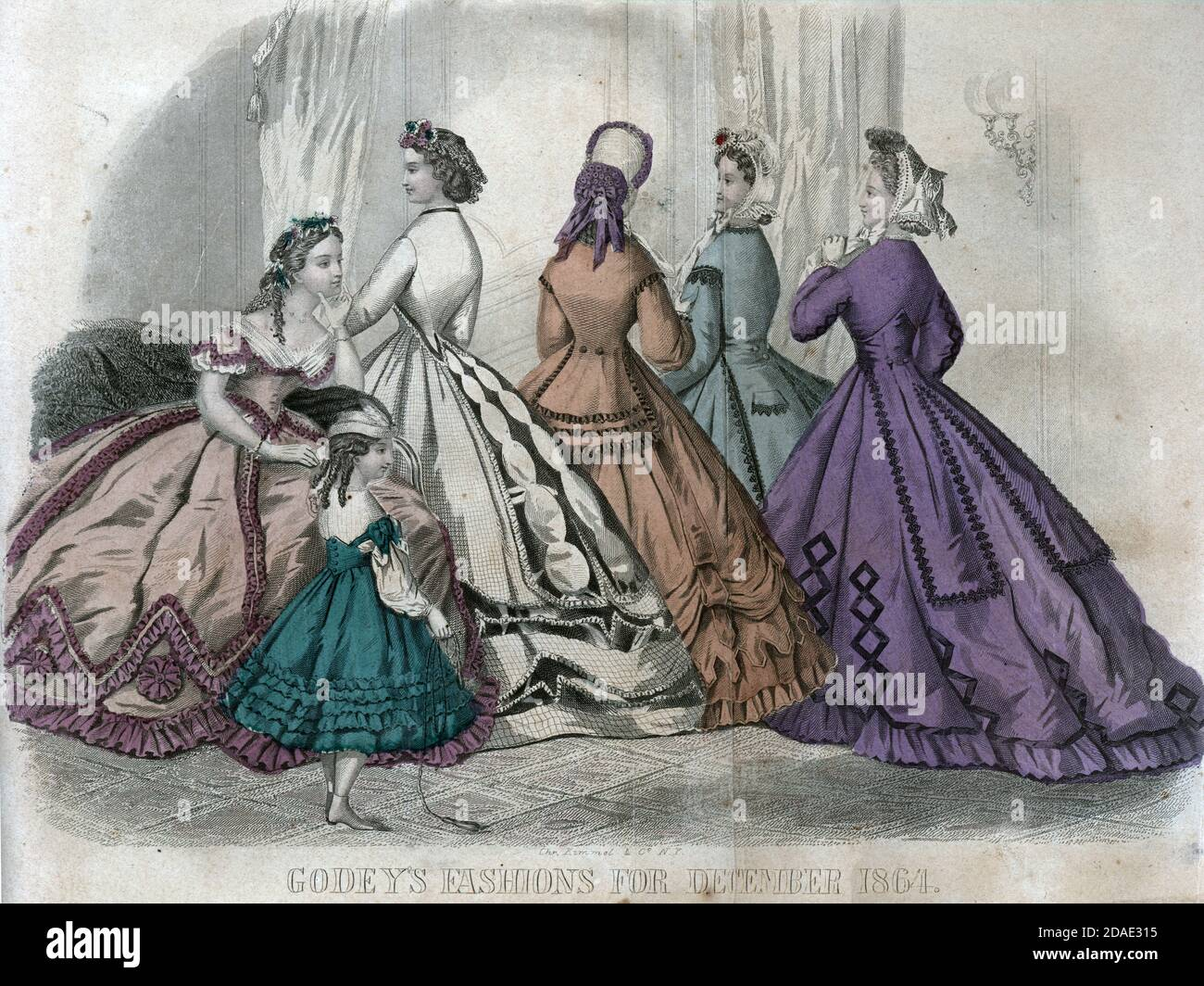 Godey's Fashion for December 1864 from Godey's Lady's Book and Magazine, December, 1864, Volume LXIX, (Volume 69), Philadelphia, Louis A. Godey, Sarah Josepha Hale, Stock Photo