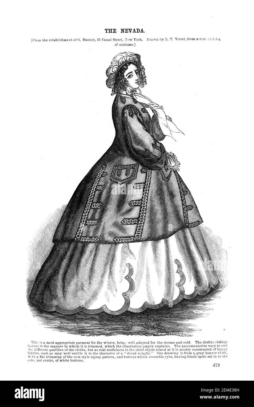The Nevada Dress Godey's Lady's Book and Magazine, December, 1864, Volume LXIX, (Volume 69), Philadelphia, Louis A. Godey, Sarah Josepha Hale, Stock Photo