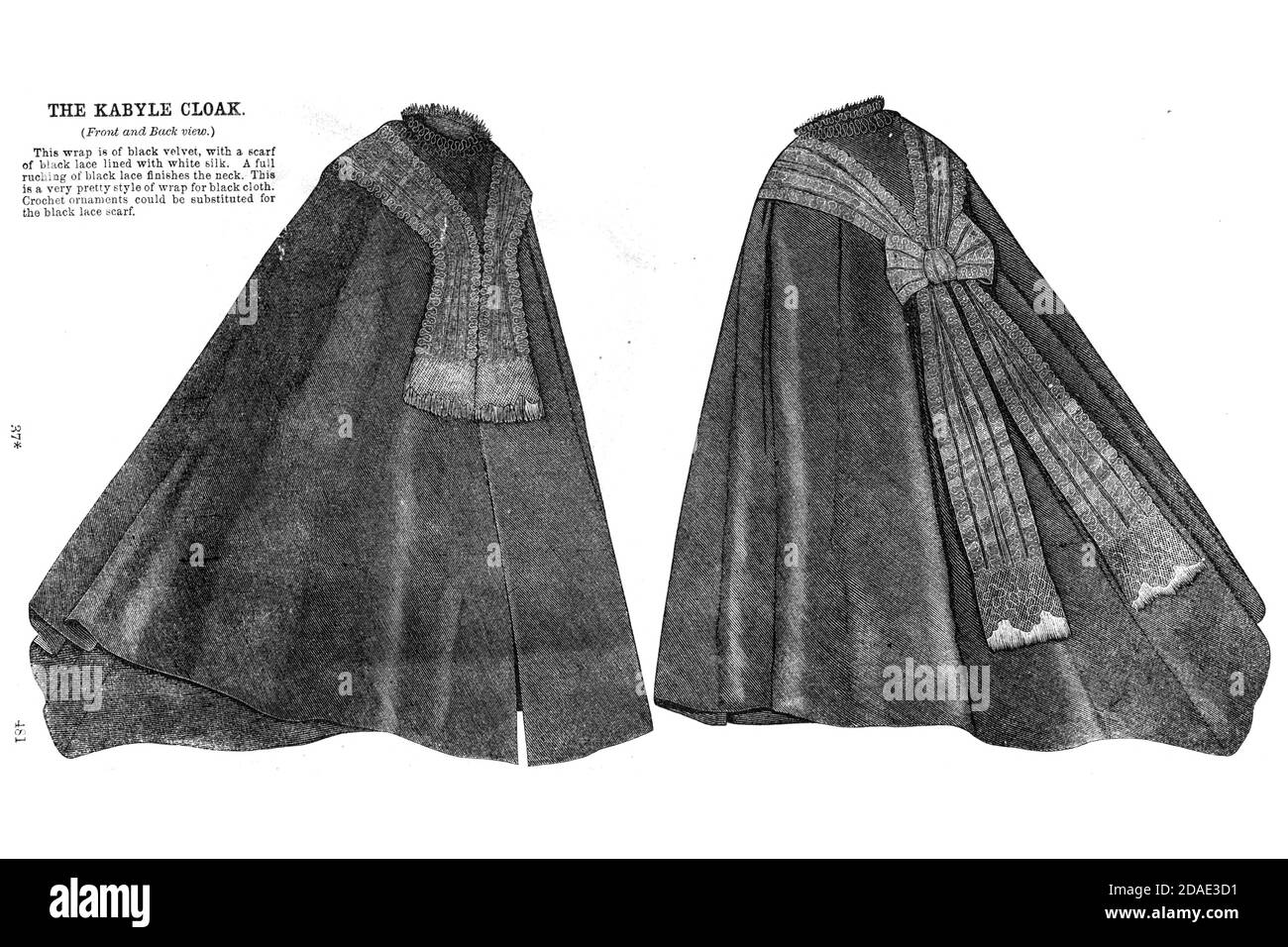 Cloak for a Lady (front and back) from Godey's Lady's Book and Magazine, December, 1864, Volume LXIX, (Volume 69), Philadelphia, Louis A. Godey, Sarah Josepha Hale, Stock Photo