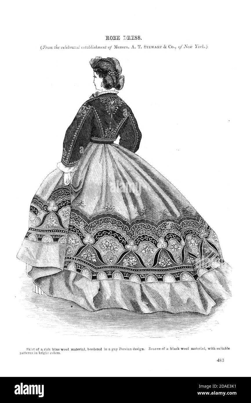 New Style of Robe from Godey's Lady's Book and Magazine, December, 1864, Volume LXIX, (Volume 69), Philadelphia, Louis A. Godey, Sarah Josepha Hale, Stock Photo