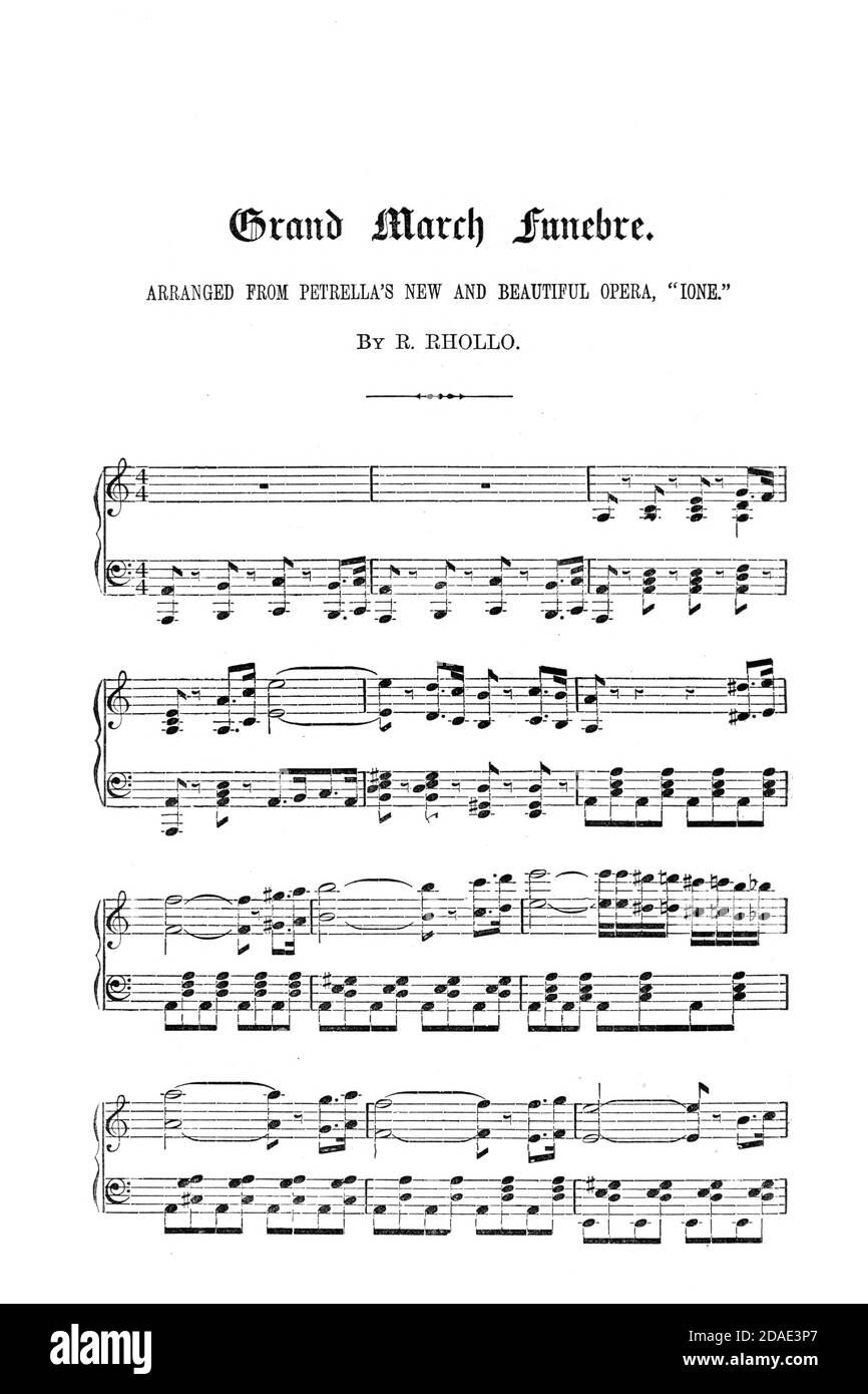 Grand March funebre Sheet Music from the Opera Ione from Godey's Lady's Book and Magazine, December, 1864, Volume LXIX, (Volume 69), Philadelphia, Louis A. Godey, Sarah Josepha Hale, Stock Photo