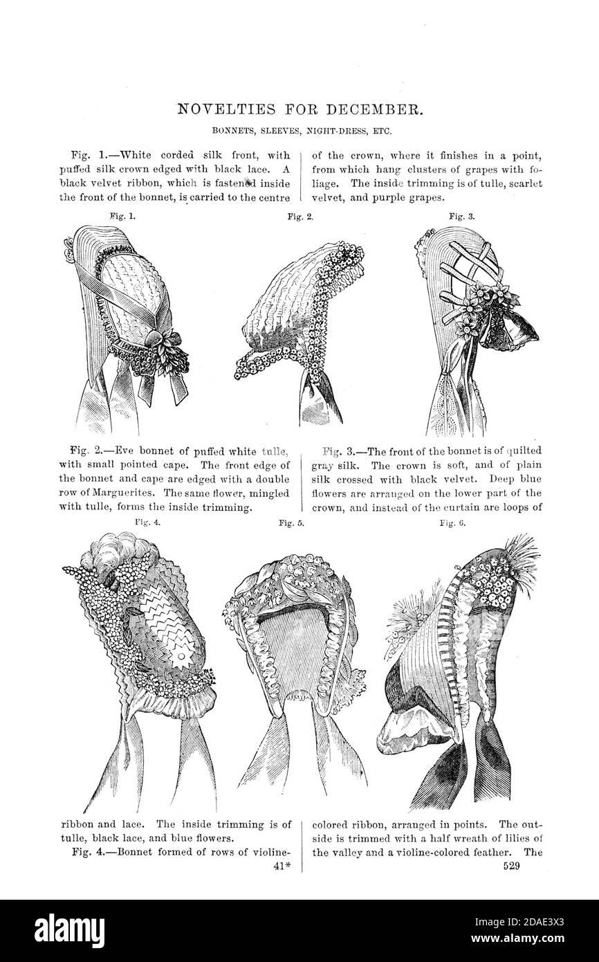 Fashionable Bonnets 1864 from Godey's Lady's Book and Magazine, December, 1864, Volume LXIX, (Volume 69), Philadelphia, Louis A. Godey, Sarah Josepha Hale, Stock Photo