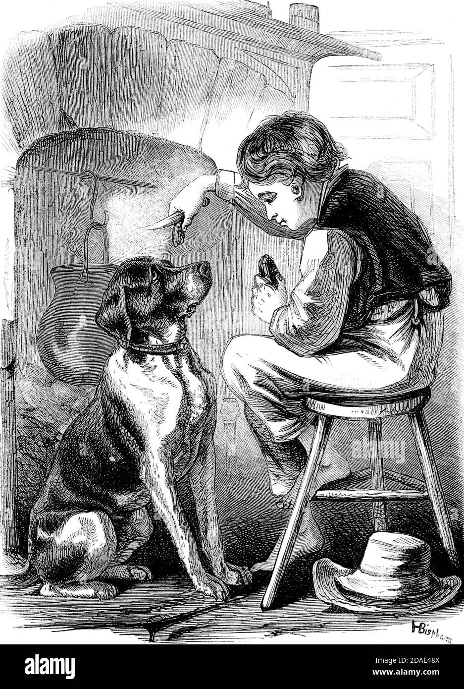 Scene from Great Expectations the thirteenth novel by Charles Dickens from Godey's Lady's Book and Magazine, Marc, 1864, Volume LXIX, (Volume 69), Philadelphia, Louis A. Godey, Sarah Josepha Hale, Stock Photo