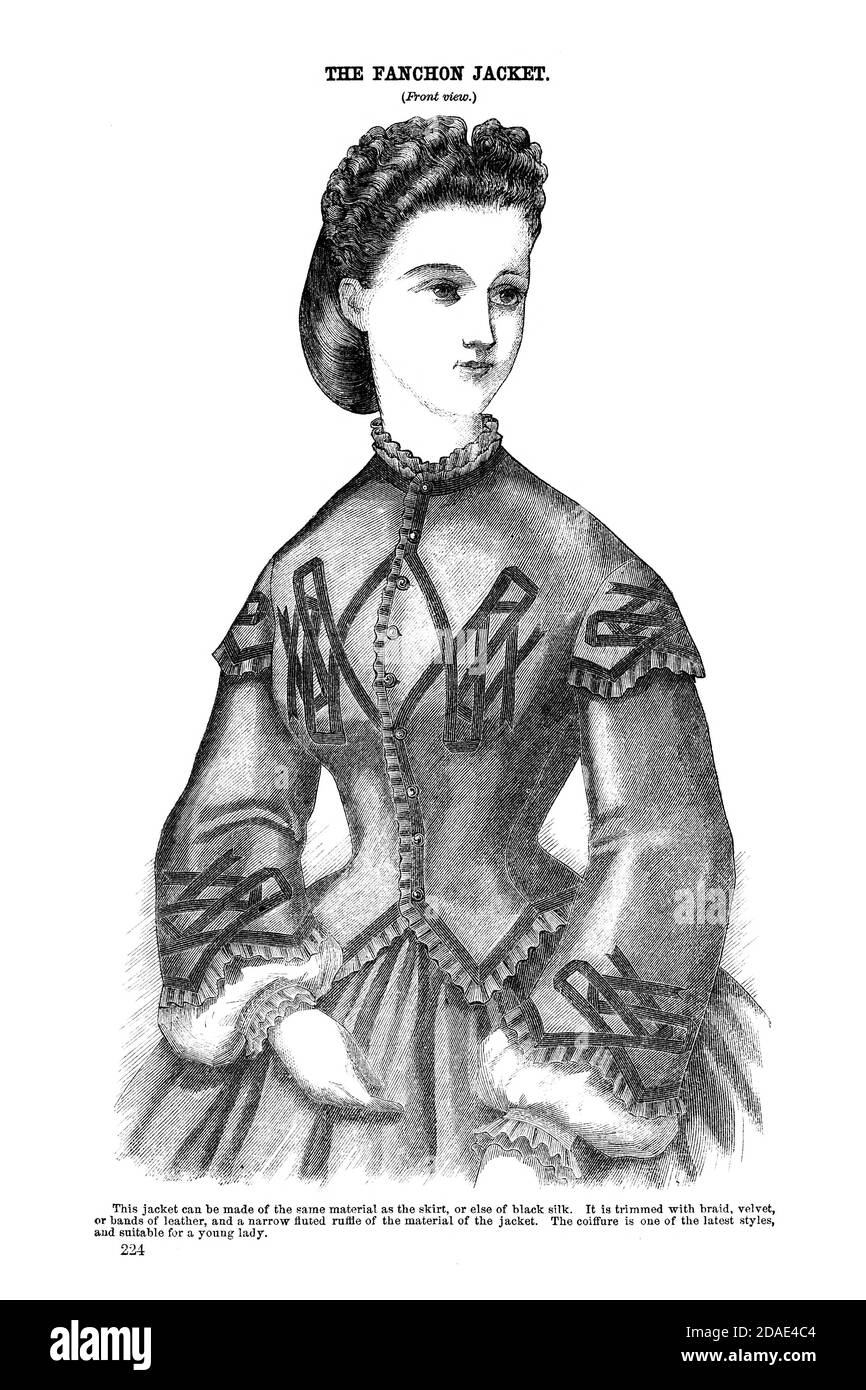 Godey's Fashion for March 1864 Fanchon Jacket from Godey's Lady's Book and Magazine, Marc, 1864, Volume LXIX, (Volume 69), Philadelphia, Louis A. Godey, Sarah Josepha Hale, Stock Photo