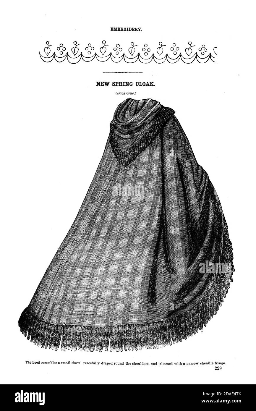 Godey's Fashion for March 1864 from Godey's Lady's Book and Magazine, Marc, 1864, Volume LXIX, (Volume 69), Philadelphia, Louis A. Godey, Sarah Josepha Hale, Stock Photo