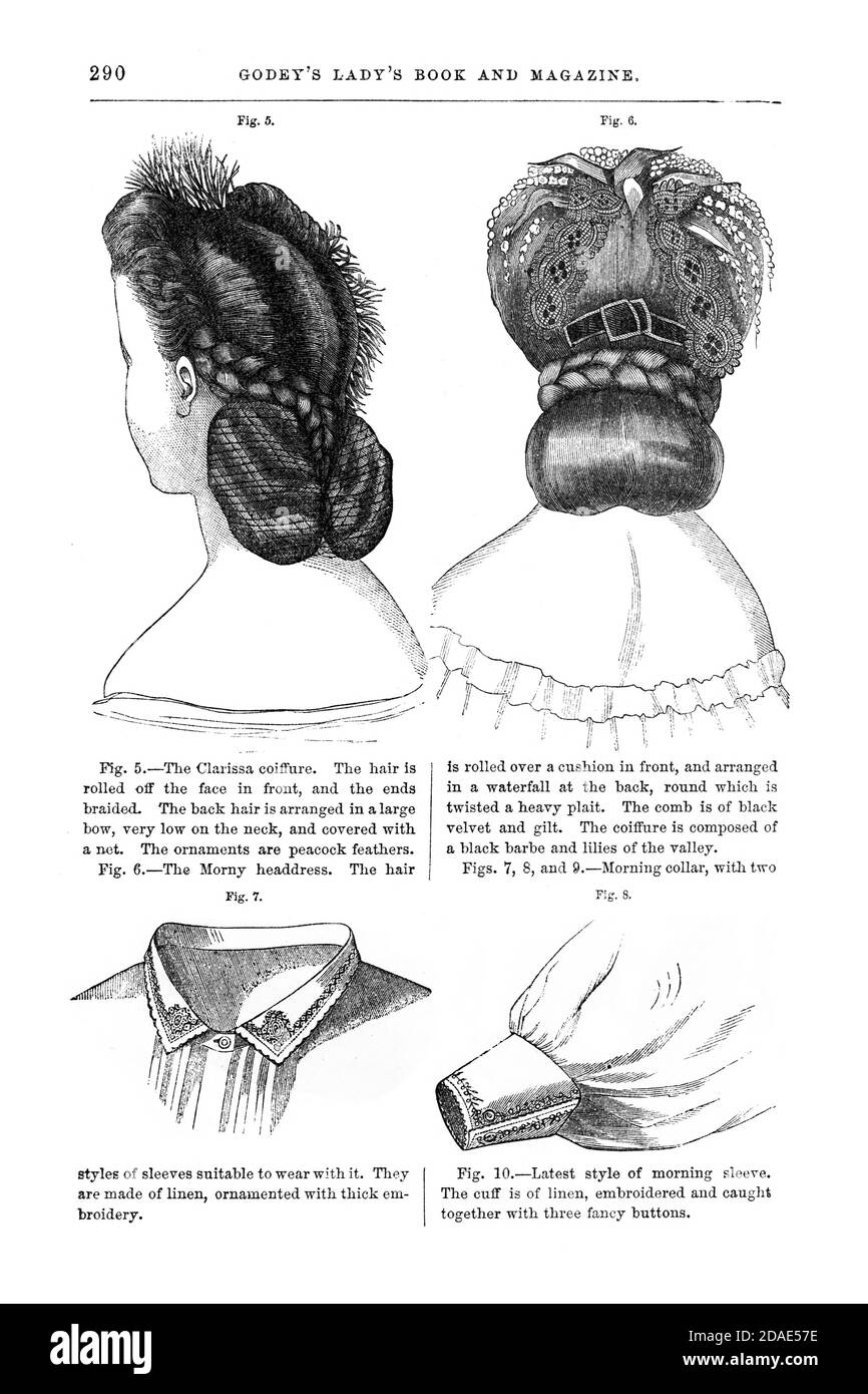 Coiffures - Women's hairstyling from Godey's Lady's Book and Magazine, Marc, 1864, Volume LXIX, (Volume 69), Philadelphia, Louis A. Godey, Sarah Josepha Hale, Stock Photo