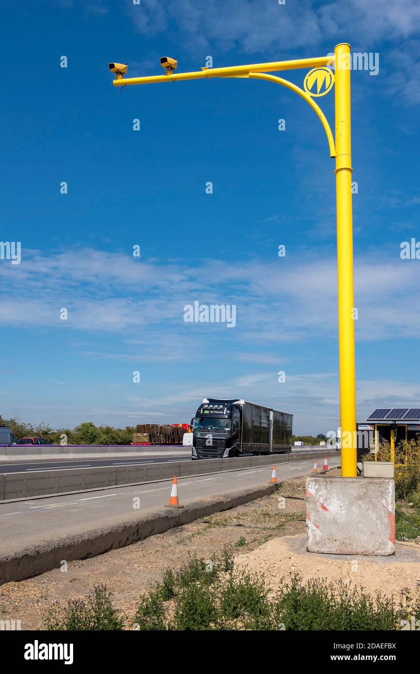 Average speed cameras on the M1 motorway in the Midlands, England. Stock Photo