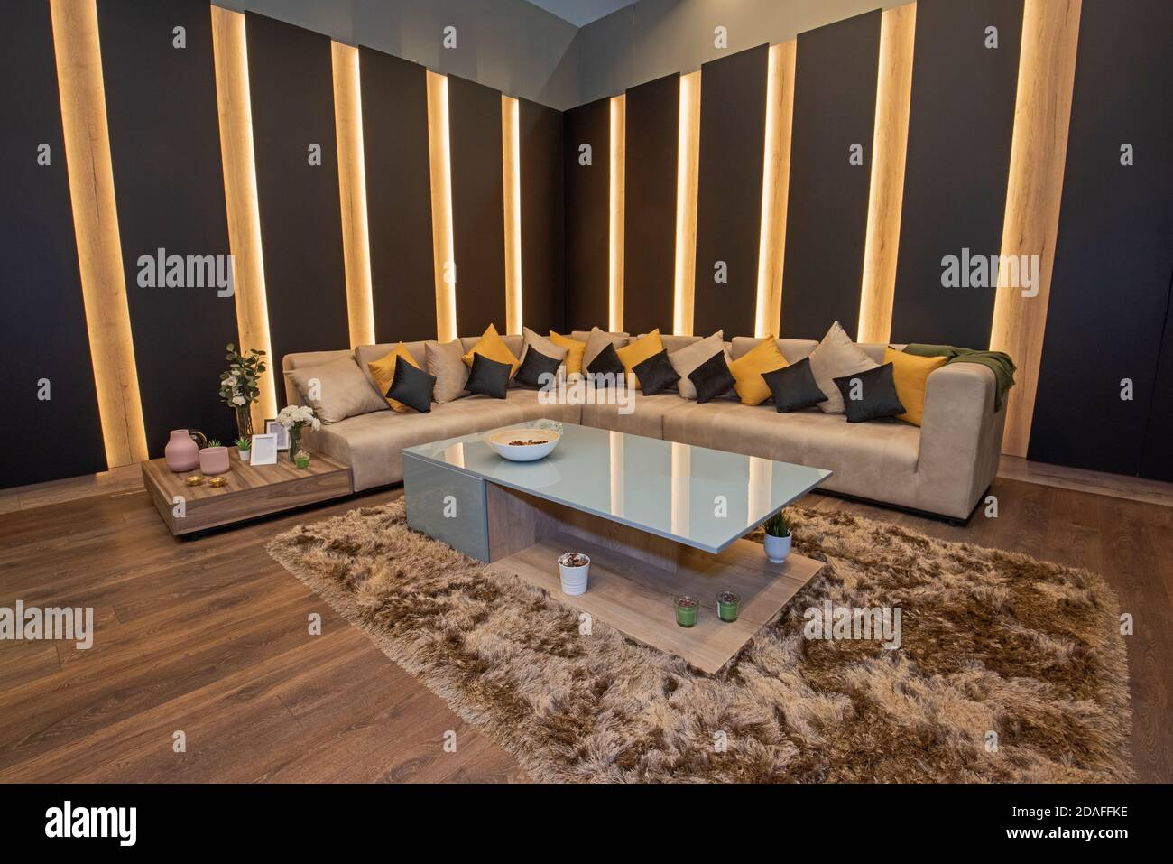 Living Room Lounge Area In Luxury Apartment Show Home Showing Interior Design Decor Furnishing With Large Sofa Stock Photo Alamy