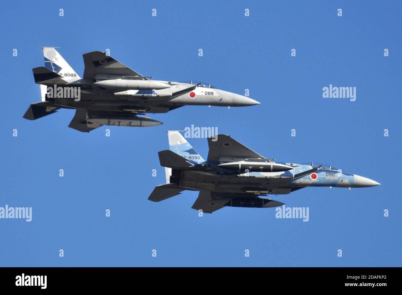 McDONNELL-DOUGLAS F-15DJ EAGLE OF THE JAPANESE AIR SELF-DEFENSE FORCE (JASDF) AGRESSOR SQUADRON.. Stock Photo