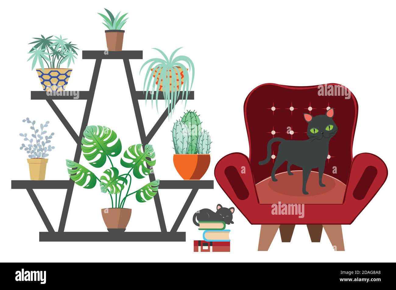 Simple Room Design With Black Cat Art Chair And House Plants Illustration Stock Vector Image Art Alamy