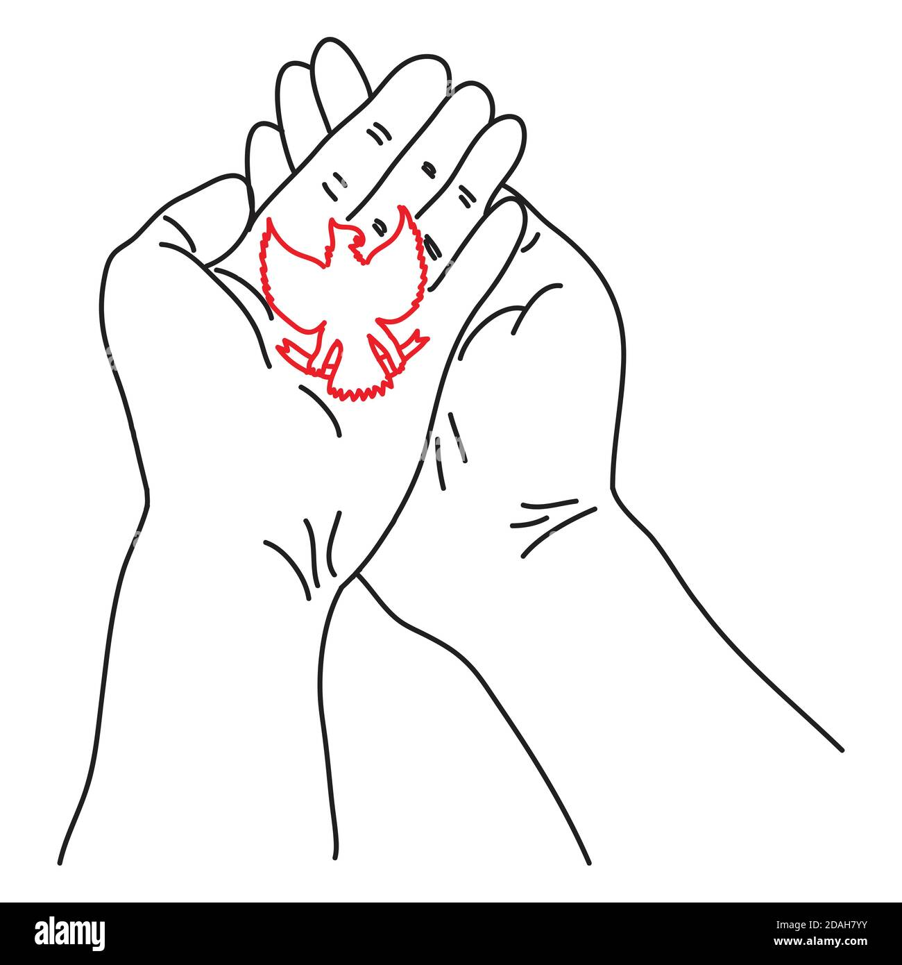 Hand drawn of a hand holds Garuda Bird. Garuda is the symbol of the state of Indonesia Stock Vector