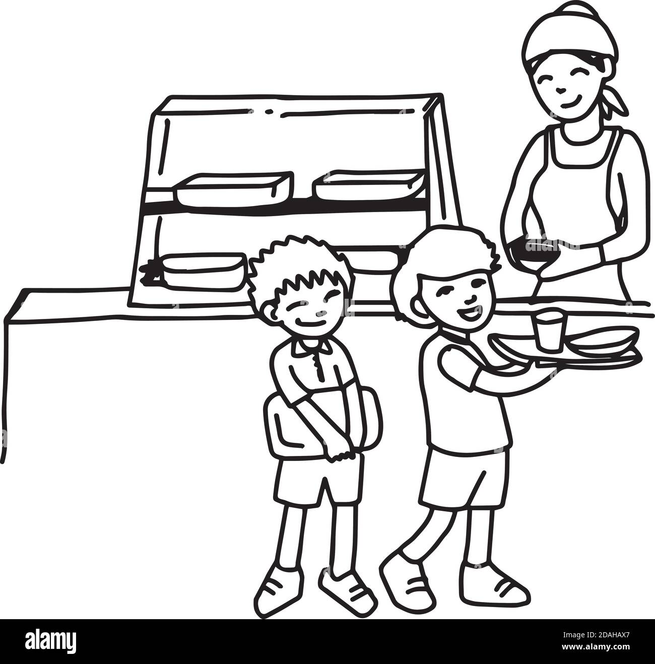 Illustation Vector Hand Drawn Doodle Of Canteen With Two Boys Holding Tray Isolated On White Background Stock Vector Image Art Alamy