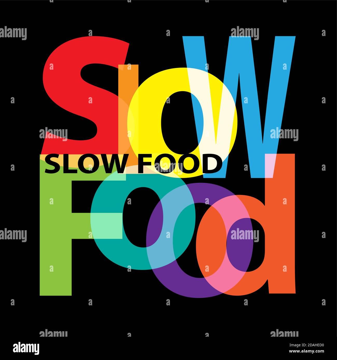 Vector Slow food. Broken text Stock Vector