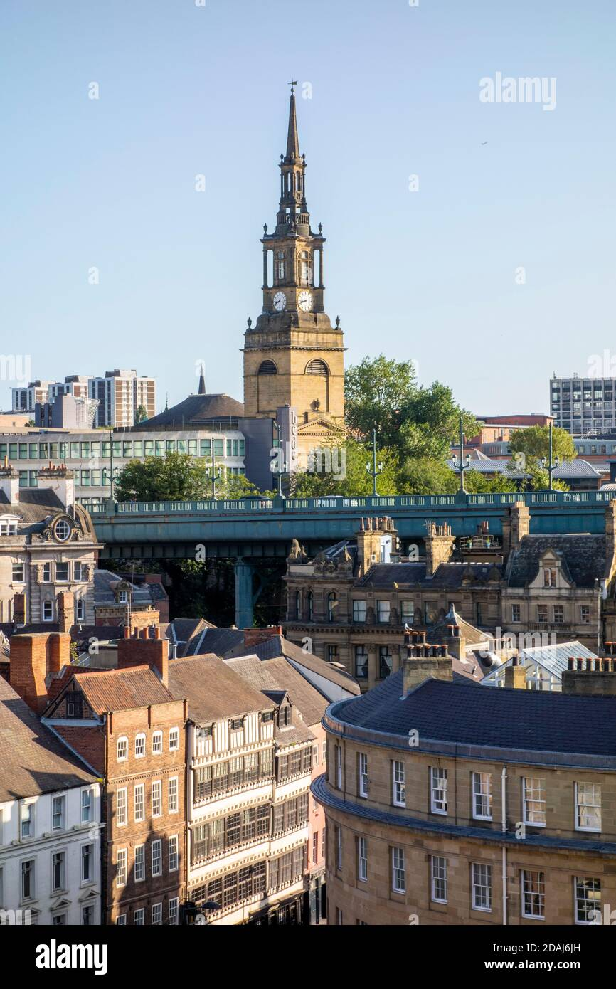 Newcastle upon Tyne skyline and All Saints Church, UK Stock Photo