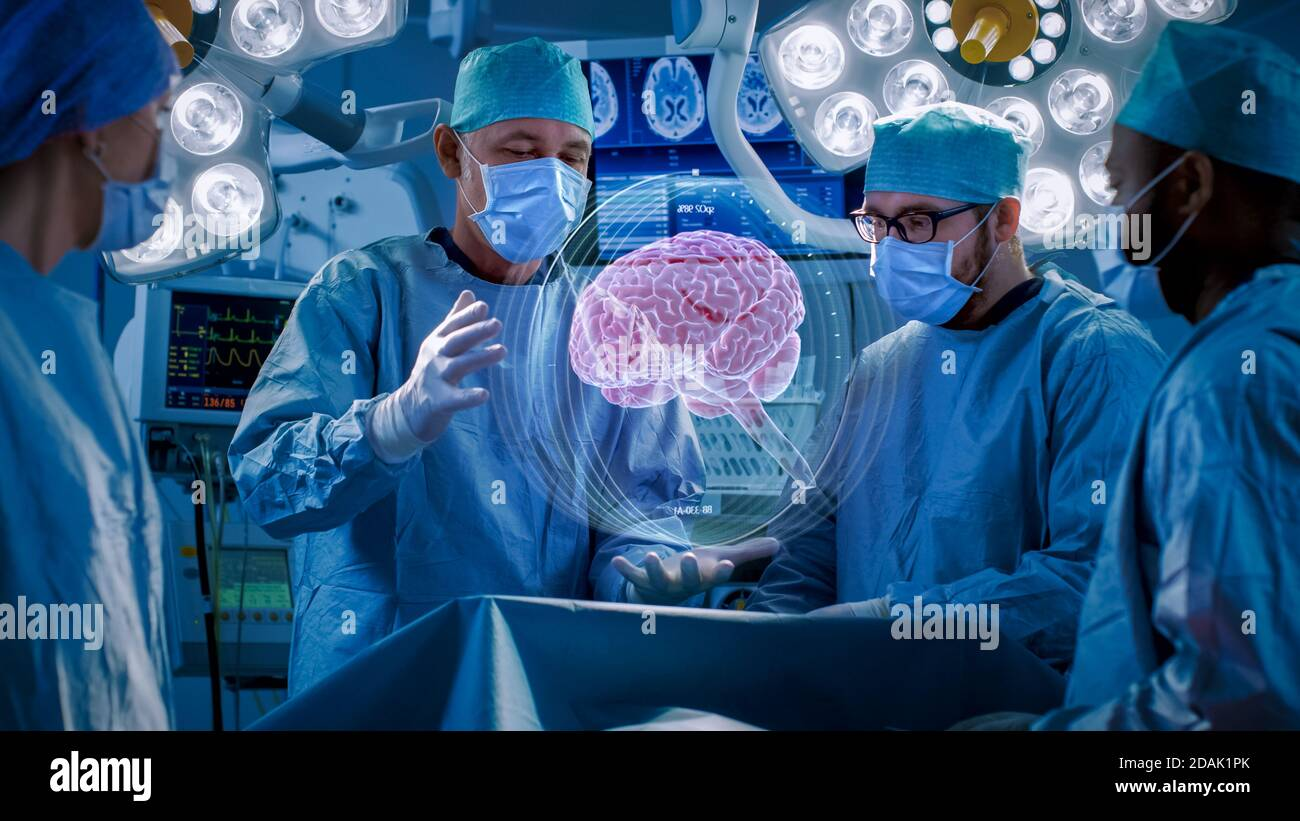 Surgeons Perform Brain Surgery Using Augmented Reality, Animated 3D Brain. High Tech Technologically Advanced Hospital. Futuristic Theme. Stock Photo