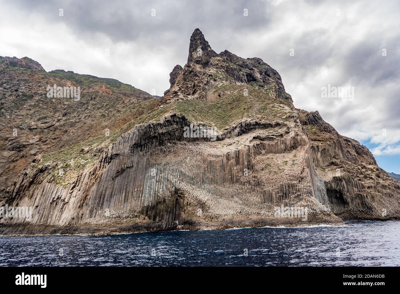 Los Organos from the sea on Gomera Stock Photo