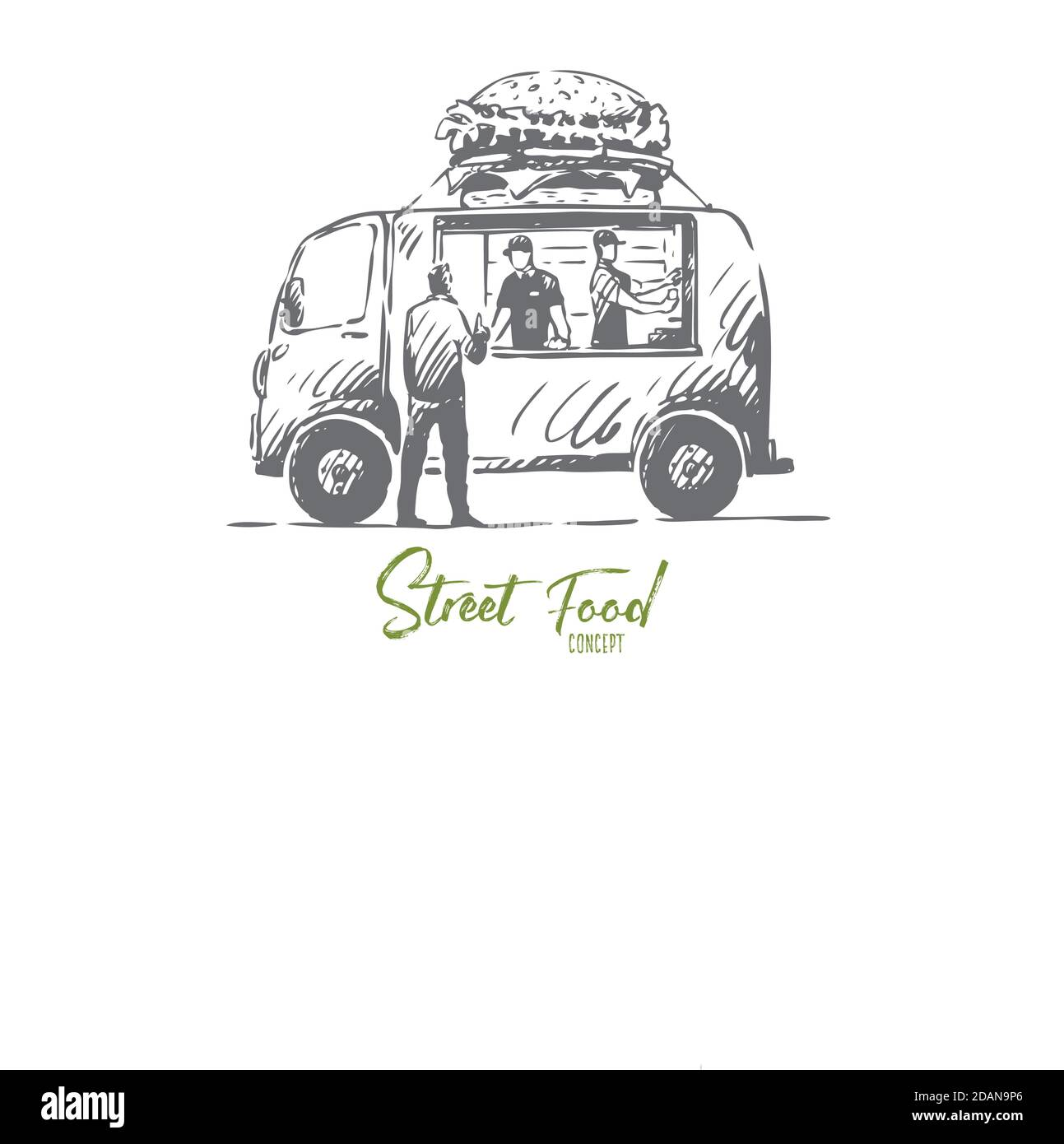 Burger, car, fast food, shop, truck concept. Hand drawn isolated vector. Stock Vector