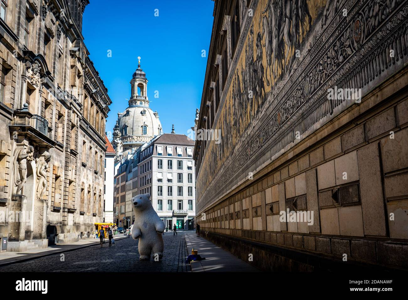 Prince procession in Dresden with Frauenkirche Stock Photo